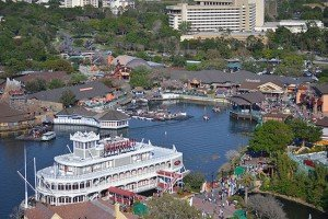 A view of the current Downtown Disney from the Characters in Flight balloon ride looking toward the east side Marketplace