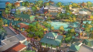 An artist's conceptual rendering shows the Town Center (below) and The Landing (above) areas of Disney Springs