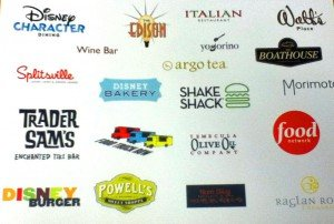 A leaked image showing logos of potential bar and restaurant concepts at Disney Springs