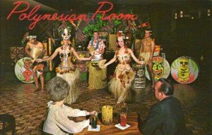 Nani Maka (second from right) is shown with other Polynesian Room performers in a vintage postcard