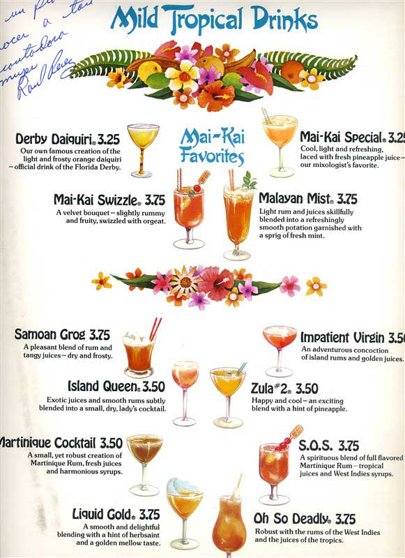Lost cocktails of the mai kai a little patience yields for List of alcoholic mixed drinks