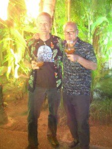 "Jeff ""Beachbum"" Berry (right) and Hurricane Hayward enjoy their classic Mutiny cocktails in The Mai-Kai gardens"