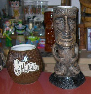 The Hukilau's official mugs for 2013: A coconut mug by Eekum Bookum and the official mug by Tiki Diablo