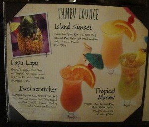 The Tambu Lounge specialty drink menu as of March 2013