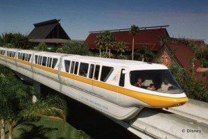 The Monorail passes Disney World's Polynesian Resort.