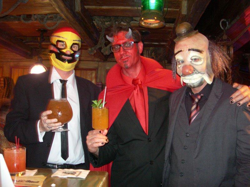 Los Hurricane Hayward, Skinny Satan and the Evil Clown enjoy The Mai-Kai's famous tropical cocktails