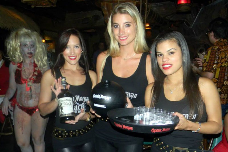 """The Captain Morgan girls are stalked by an undead extra from """"The Horror of Party Beach."""""""