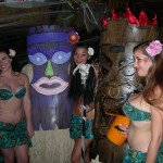 The Tikis pose with The Molokai Girls after winning the costume contest