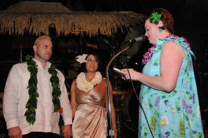 "Christie ""Tiki Kiliki"" White performs a marriage on stage at The Mai-Kai during The Hukilau in June 2010"