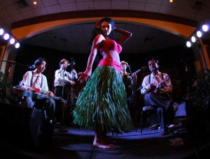 Marina the Fire Eating Mermaid performs with the Sweet Hollywaiians in the ballroom at the Bahia Mar at The Hukilau 2010