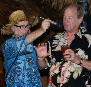 With a little help from Beachbum Berry, Stephen Remsberg puts the finishing touches on the Witch Doctor cocktail during a symposium at The Hukilau in June 2013