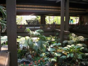 A view from the upper floor of the the Great Ceremonial House in May 2011. The giant tropical jungle and water feature at the center of the resort may be removed in the coming months