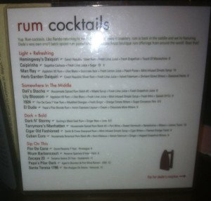 Dada's rum cocktail menu