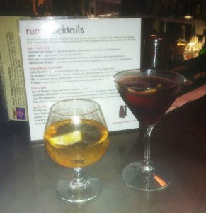 Cigar Old Fashioned (left) and Mr. Tarrymore's Manhattan at Dada in Delray Beach
