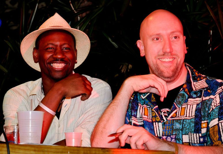 Ian Burrell and Martin Cate judge the Master Mixologist Rum Barrel Challenge at The Hukilau in June 2011