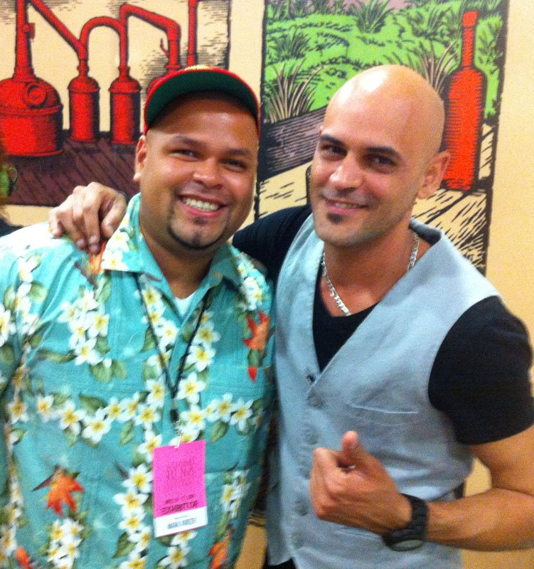 Mark Kinzer (left) manned the Mount Gay booth, serving cocktails created by Freddy Diaz of AlambiQ Mixology in Miami