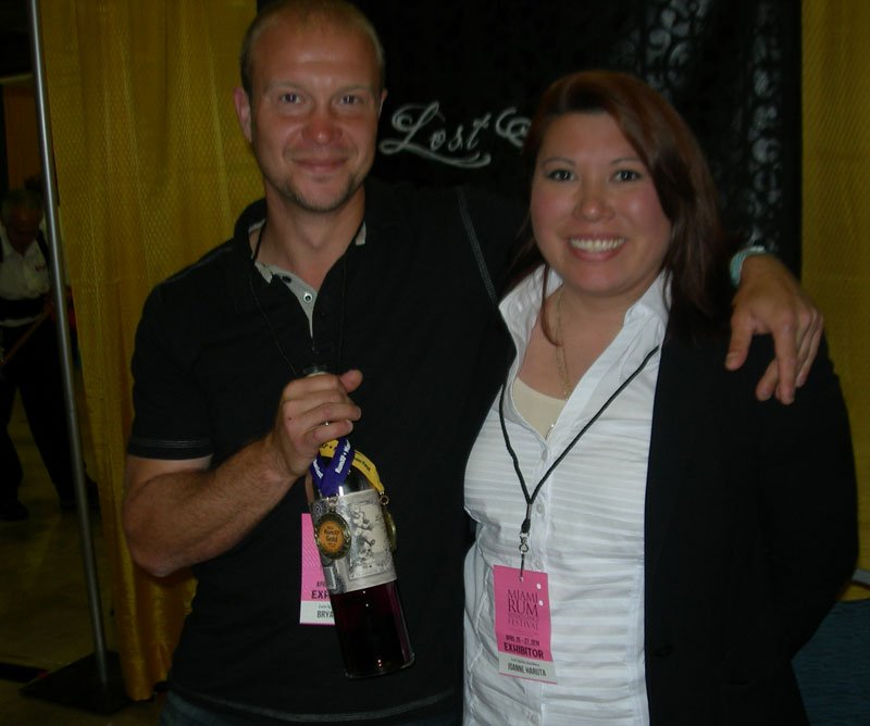 Lost Spirits Distillery co-founders Bryan Davis and Joanne Haruta show off their award-winning Navy Style Rum on Sunday, April 27