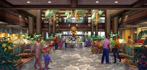 A rendering shows the reimagined Great Ceremonial House at the Polynesian Village Resort
