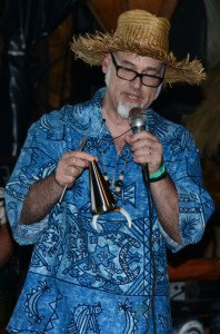 Beachbum Berry shows off the Navy Grog Ice Cone Kit during his symposium at The Hukilau in June 2013