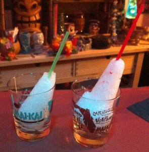 The finished ice cones await their cocktails. The pilsner glass version (right) is larger but also misshapen