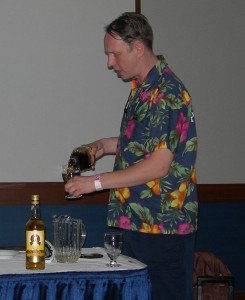Paul McFadyen mixes up an array of rums to create his own Navy-style blend during  a seminar in April 2013 at the Miami Rum Festival