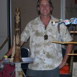 South Florida artist Tom Fowner with one of his distinctive pieces.