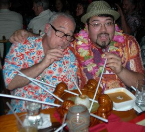 "Jeff ""Beachbum"" Berry and Steve Yamada (head bartender at Berry's upcoming Latitude 29 in New Orleans) enjoy a Mystery Drink during dinner at The Mai-Kai."