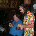 Artist Crazy Al Evans (right) jams with Pablus.
