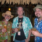 "Jeff ""Beachbum"" Berry (from left), Hurricane Hayward and Steve Yamada (Latitude 29) enjoy classic cocktails in The Molokai bar as The Hukilau wraps up on Sunday."