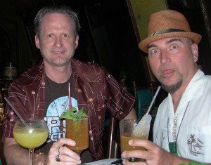 Otto von Stroheim and Hurricane Hayward sample cocktails in The Molokai bar at The Mai-Kai in April 2014