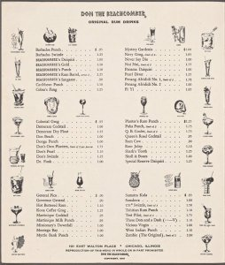 A menu from Don the Beachcomber's Chicago restaurant, circa 1963
