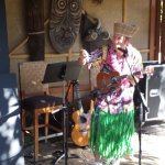 King Kukulele serenaded the Mahaloween Luau crowd with his trademark hapa haole tunes and witty repartee