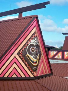 A view from the Monorail of a mask on the Tangaroa Terrace building at the Polynesian Village Resort in December 2012
