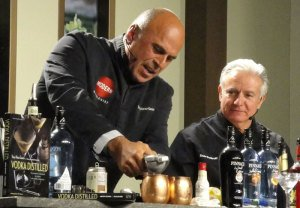 Tony Abou-Ganim (left) and Dale DeGroff present a mixology seminar at the Epcot International Food & Wine Festival at Disney World on Sunday, Nov. 2