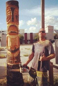 Jeff Chouinard and one of his guerrilla Tikis, September 2014