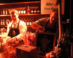 The Mai-Kai's Kern Mattei and Troy Gallant are busy preparing the Molokai Swizzle.