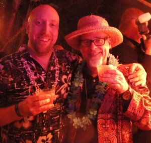 Judges Martin Cate (left) and Beachbum Berry enjoy The Mai-Kai's Molokai Swizzle at The Art of Tiki: A Cocktail Showdown on Feb. 20, 2015. (Photo by Hurricane Hayward)