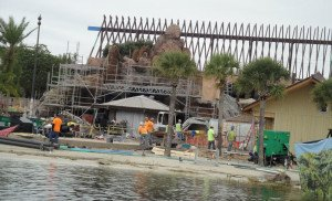 From the Polynesian Village Resort's boat launch, a view of work on the back of the lava pool, including the Barefoot Bar (center) and marina building. (Feb. 26, 2015)