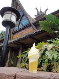 A great spot to enjoy a Dole Whip float is near the exit of the Enchanted Tiki Room