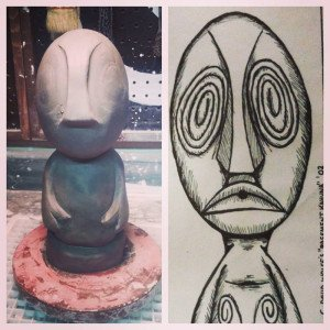 A first look at the sculpt for the 2015 event mug for The Hukilau by Tiki Diablo. At right is the original drawing by Basement Kahuna