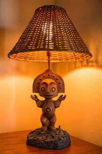 The Poly Tiki lamp in one of the Bora Bora Bungalows at Disney's Polynesian Village Resort