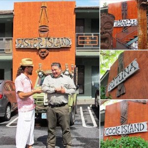 Bosko Hrnjak (right) discusses his handiwork at the Caliente Tropics Hotel with fellow artist Crazy Al Evans