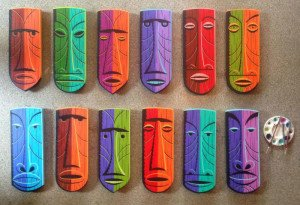 Original hand-painted masks (on wood) by Shag