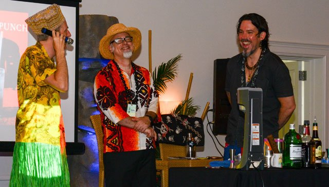 King Kukulele (left) introduces Beachbum Berry and Brian Miller (right) to the sold-out audience in the Panorama Ballroom at the Hyatt Regency Pier 66 hotel. (Photo by Go11Events.com)