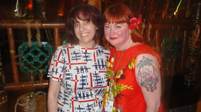 "The Hukilau's dynamic duo: Co-organizer Sherill Gross (left) and producer Christie ""Tiki Kiliki"" White. (Atomic Grog photo)"