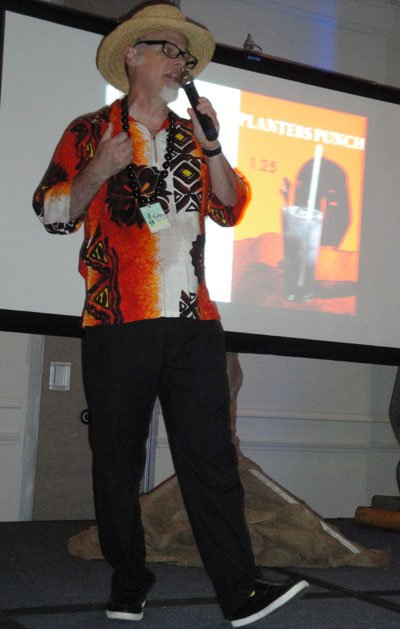 "Jeff ""Beachbum"" Berry, author of six definitive books on Tiki cocktails and owner of Latitude 29 in New Orleans, kicks off the symposium on one of history's most iconic drinks. (Atomic Grog photo)"