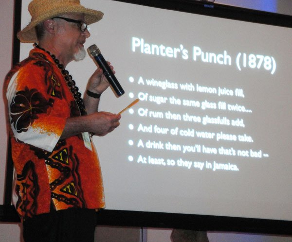 """Jeff """"Beachbum"""" Berry traces the earliest Planter's Punch recipes back to to the 1800s. You can find lots more of his historical research in his latest book, Potions of the Caribbean: 500 Years of Tropical Drinks and the People Behind Them (2013). (Atomic Grog photo)"""