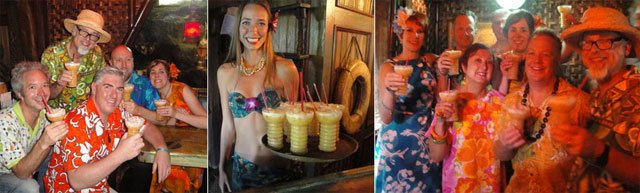 In The Hukilau's waning hours, the Deep Sea Diver was the cocktail of choice as Beachbum Berry and friends celebrated the introduction of the vintage Cocktail Kingdom glassware.  (Atomic Grog photos)