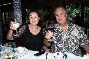 A toast to The Hukilau and a special birthday: Mai-Kai managing owner Dave Levy celebrates his 60th with friends and family including mom Mireille Thornton, who took over the restaurant from her late husband, co-founder Bob Thornton. (Photo by The Tanabi Group)