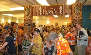 Crowds fill the Hyatt Regency Pier 66 hotel's Crystal Ballroom on the last day of the Tiki Treasures Bazaar. (Atomic Grog photo)